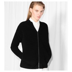 & Other Stories Black Cotton Ribbed Bomber Jacket